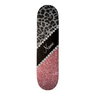 Name pastel pink glitter black leopard skate boards