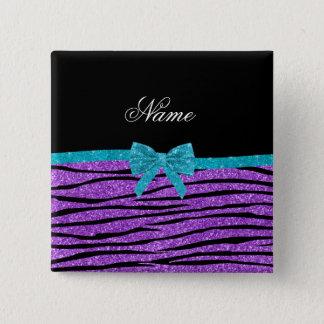 Name pastel purple glitter zebra turquoise bow pinback button