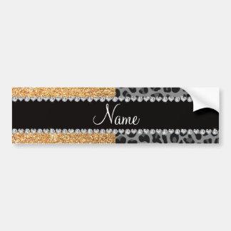 Name pastel yellow glitter black leopard car bumper sticker