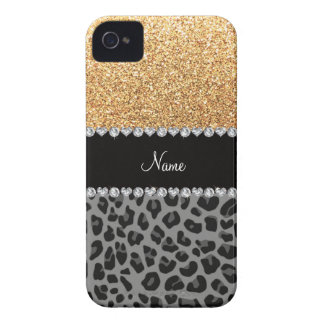 Name pastel yellow glitter black leopard iPhone 4 covers