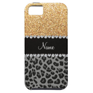 Name pastel yellow glitter black leopard iPhone 5 covers