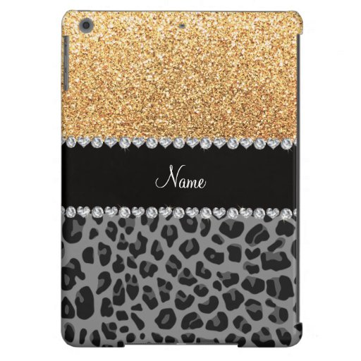 Name pastel yellow glitter black leopard cover for iPad air