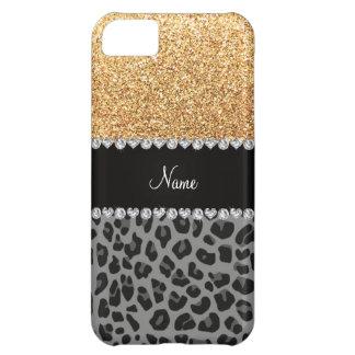 Name pastel yellow glitter black leopard iPhone 5C case