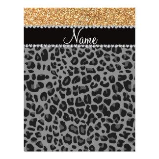Name pastel yellow glitter black leopard flyers
