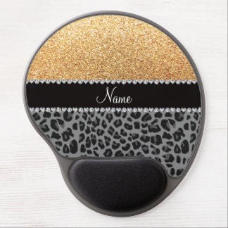 Name pastel yellow glitter black leopard gel mouse pad