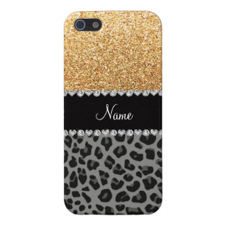 Name pastel yellow glitter black leopard cover for iPhone 5