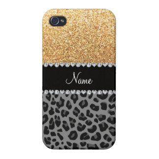 Name pastel yellow glitter black leopard iPhone 4 case