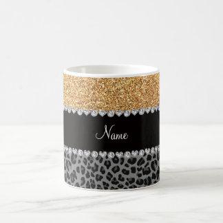 Name pastel yellow glitter black leopard coffee mugs