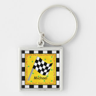 Name Personalizd Black White Checkered Flag Keychain