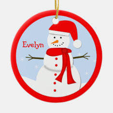 Name Personalized Christmas Snowman Ornament at Zazzle