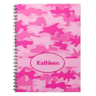 Name Personalized Hot Pink Camouflage Writing Notebook