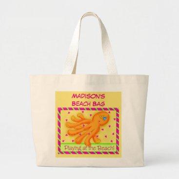 Beach Themed Name Personalized Octopus Yellow Orange Beach Tote