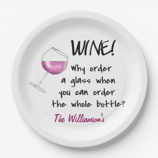 Name Personalized Red Wine Funny Word Saying Paper Plate