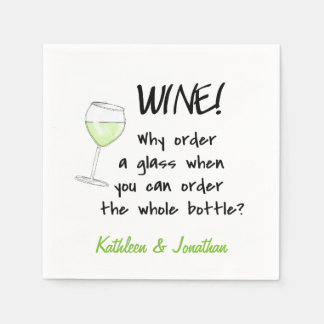 Name Personalized White Wine Funny Word Design Art Standard Cocktail Napkin
