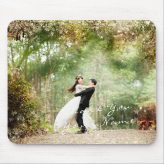 Name Photo Golden Stars Wedding Favor Thank Couple Mouse Pad