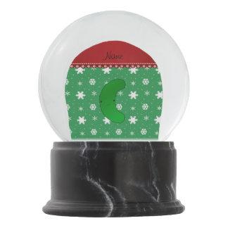Name pickle christmas green white snowflakes snow globe
