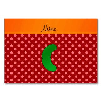 Name pickle red polka dots orange stripe table cards