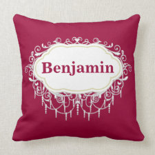 Name Pillow Ornate Cranberry