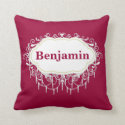 Name Pillow : Ornate Cranberry Red