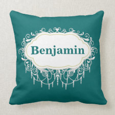 Name Pillow Ornate Dark Teal