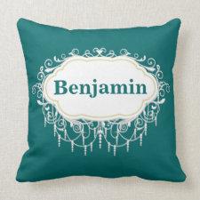 Name Pillow Ornate Dark Teal