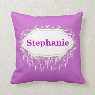 Name Pillow : Ornate Orchid Pink