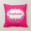 Name Pillow : Ornate Raspberry Pink