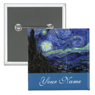 Name pin,Vincent van Gogh, Starry Night Button