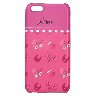 Name pink baby bib blocks carriage booties case for iPhone 5C