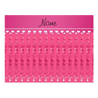 Name pink baby bottle rattle pacifier stork postcard