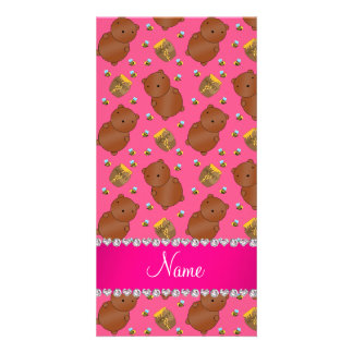 Name pink bears honeypots bees pattern photo card