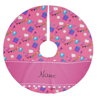 Name pink birthday bunting cake hat balloons brushed polyester tree skirt
