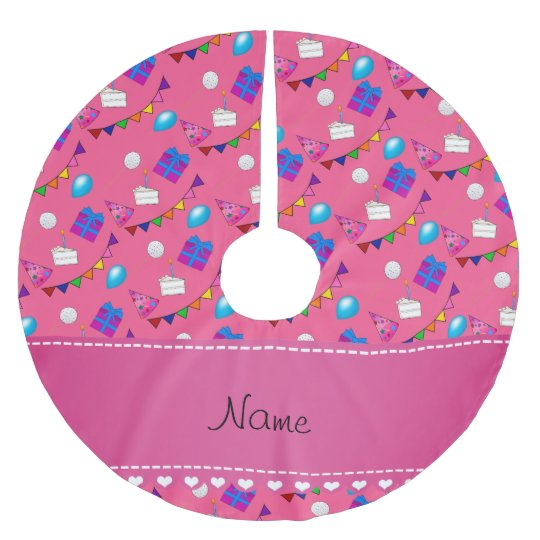 Name Pink Birthday Bunting Cake Hat Balloons Brushed Polyester Tree Skirt