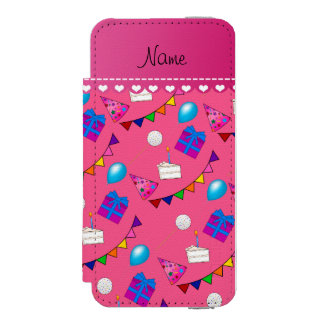 Name pink birthday bunting cake hat balloons iPhone SE/5/5s wallet case