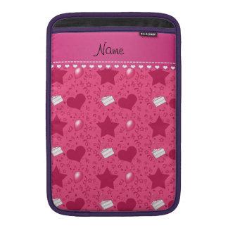 Name pink birthday cake balloons hearts stars MacBook air sleeve