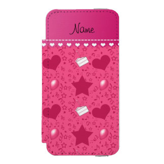 Name pink birthday cake balloons hearts stars wallet case for iPhone SE/5/5s