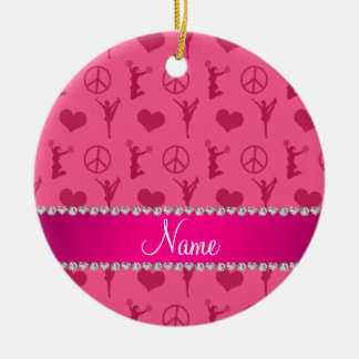 Name pink cheerleading hearts peace sign ceramic ornament