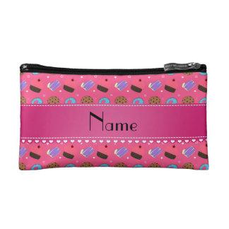 Name pink cupcake donuts cake cookies cosmetics bags