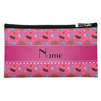 Name pink cupcake donuts cake cookies cosmetic bag