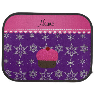 Name pink cupcake indigo purple silver snowflakes car floor mat