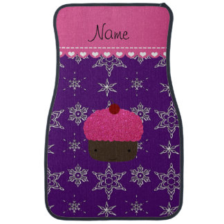 Name pink cupcake indigo purple silver snowflakes car mat
