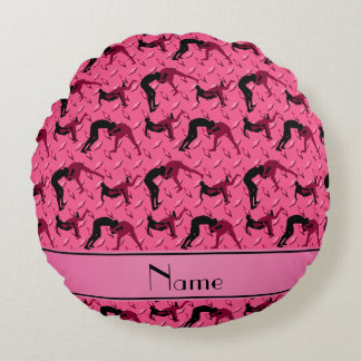 Name pink diamond steel plate wrestling round pillow