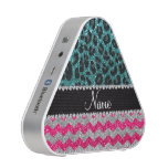 Name pink glitter chevrons turquoise leopard bluetooth speaker