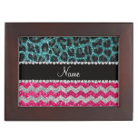 Name pink glitter chevrons turquoise leopard memory box