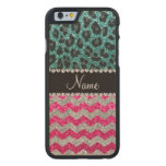 Name pink glitter chevrons turquoise leopard carved® maple iPhone 6 slim case