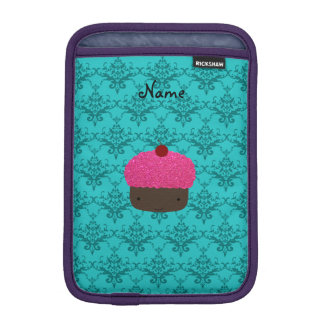 Name pink glitter cupcake turquoise damask iPad mini sleeve