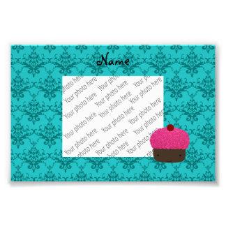 Name pink glitter cupcake turquoise damask photograph