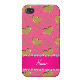 Name pink gold hearts bachelorette party covers for iPhone 4