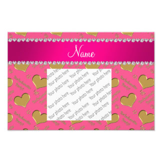 Name pink gold hearts bachelorette party photo print