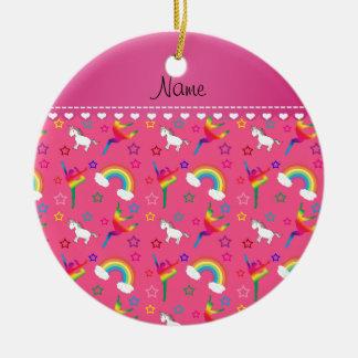 Name pink gymnastics rainbows unicorns ceramic ornament